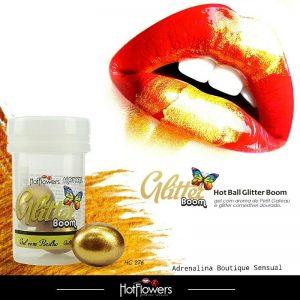 Hot Ball Glitter Boom Aroma Petit Gateau e Glitter Comestível Hot Flowers